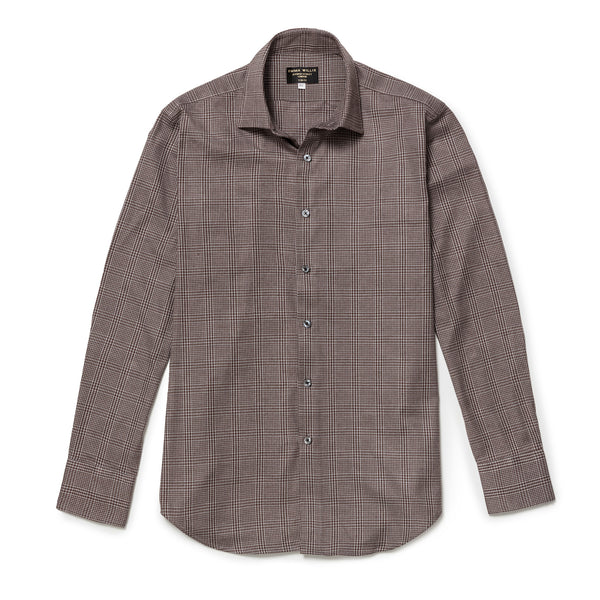 Walnut Prince of Wales Check Brushed Cotton shirt - New