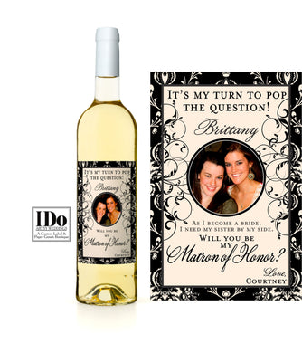 Black & Gold Bridesmaid Photo Wine Labels