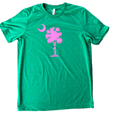 843 Shop Pink Palmetto Tee - Kelly Green Heather (Unisex)
