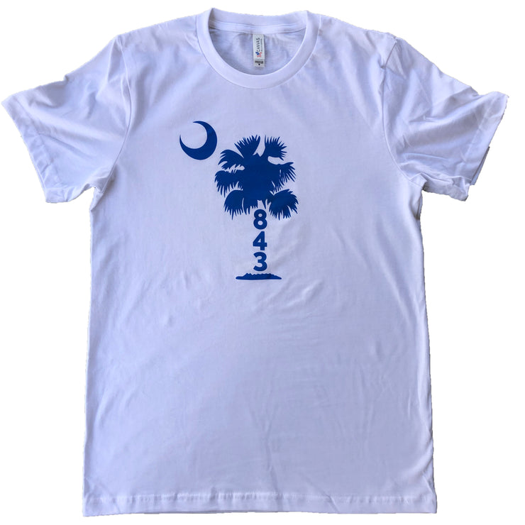 843 Shop Blue Palmetto Tee - White (Unisex)