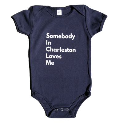 843 Shop Somebody in Charleston Loves Me Baby Onesie - Navy 6-12 Months