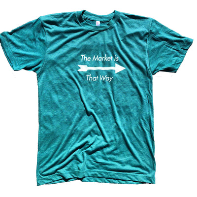843 Shop The Market is That Way Tee - Teal (Unisex)