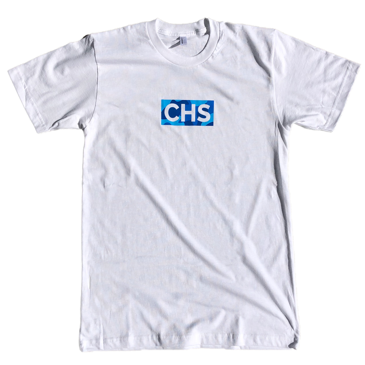 843 Shop CHS Box Logo Blue Camo Tee - White (Unisex)