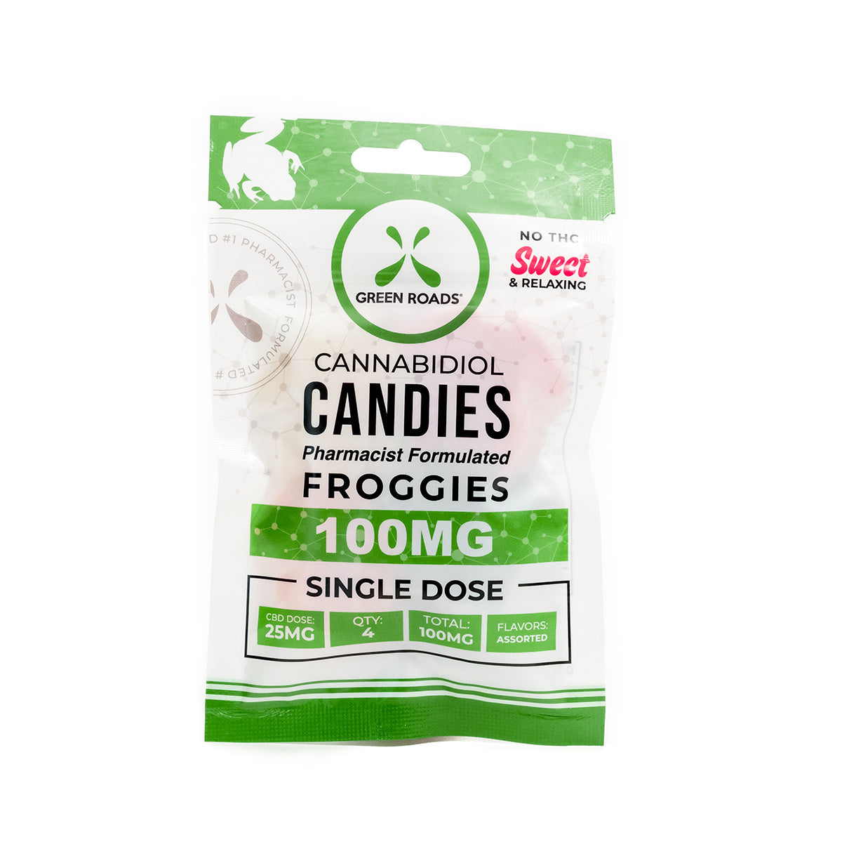 Green Roads Cannabidiol Candies Froggies 100mg