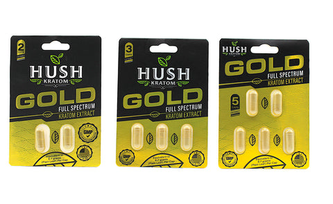 Hush- Gold Full Spectrum Kratom Extract Capsules ( 2CT, 3CT or 5CT)
