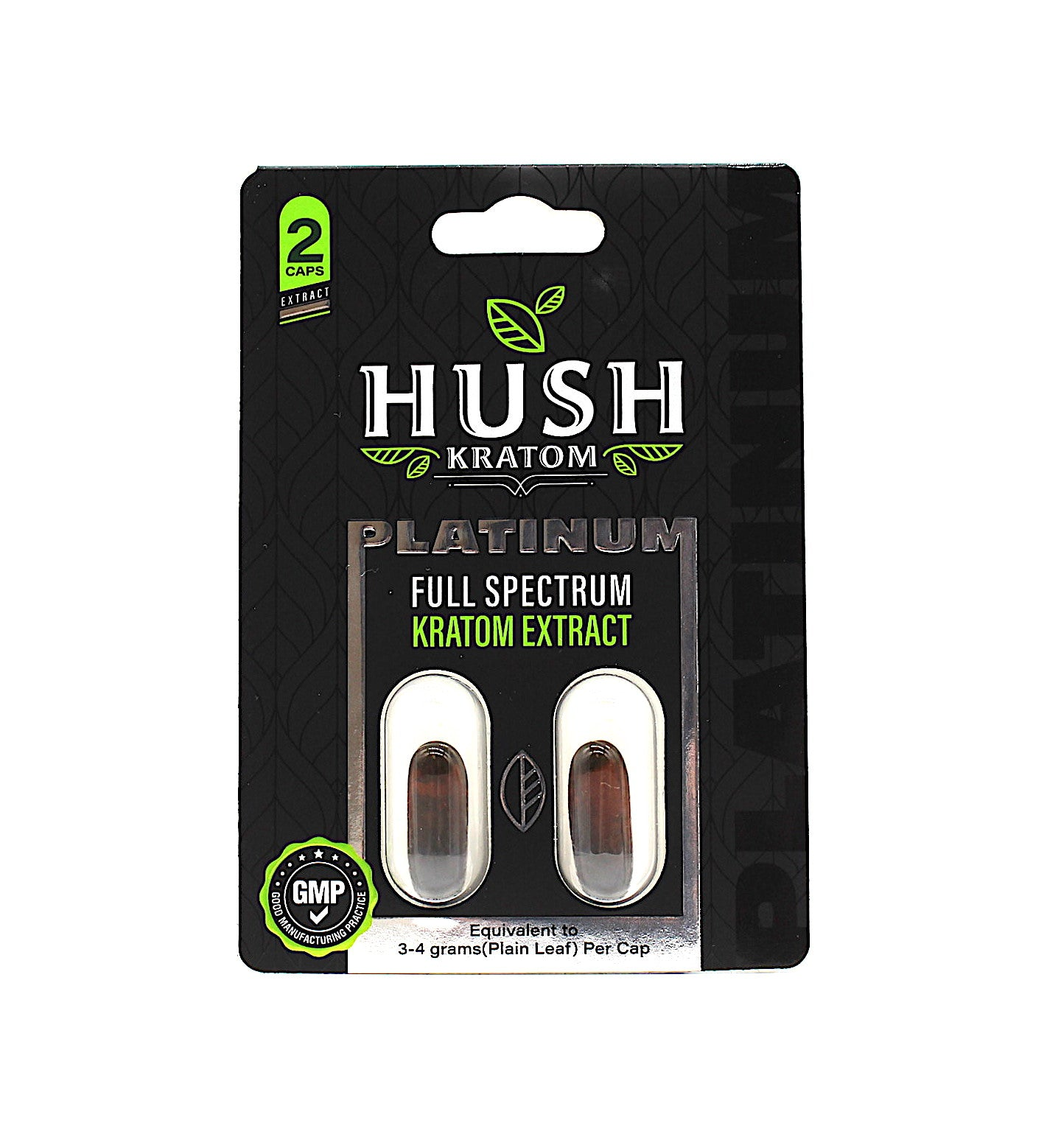 Hush- Platinum Full Spectrum Kratom Extract Gel Capsules ( 2CT. per pack )