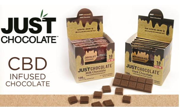 JUST CBD - Milk Chocolate 10-100 mg Bars  ( Display of 10 Bars )