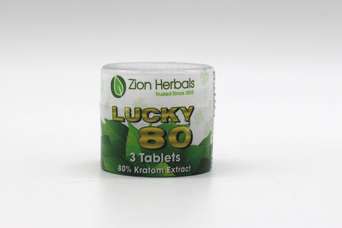 Zion Herbals - Lucky 80 Chewable Tablets ( 3 Tablets with 80% Kratom Extract )