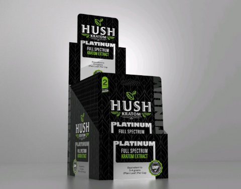 Hush- Platinum Full Spectrum Kratom Extract Capsules ( 2CT. per pack )