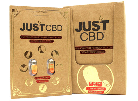 Just CBD Dietary Supplement Display 25mg each capsule (12 Pack)