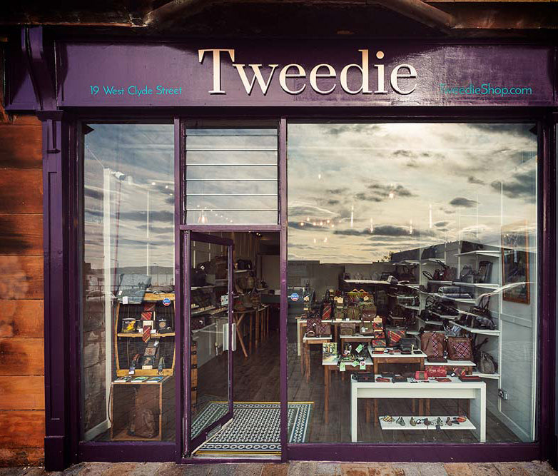 Tweedie is the retail store of the award-winning Leather Guild Design Studio, based in Helensburgh, Scotland.  The studio designs exclusive Islay Tweed products from bespoke heritage tweeds woven at the Islay Woollen Mill