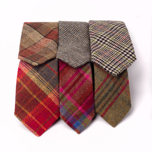 Tweed Ties - Grey Islay Tweed (Top Centre)