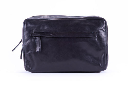 Wash Bag, Black Leather