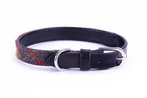 Dapper Dog Collar - Black Leather and Glen Red Tweed