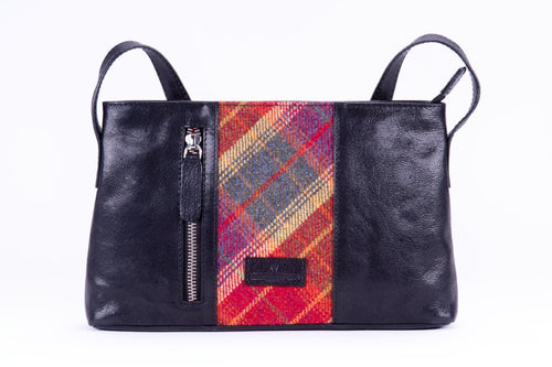 Ailsa Bag - Black Leather and Glen Red Islay Tweed