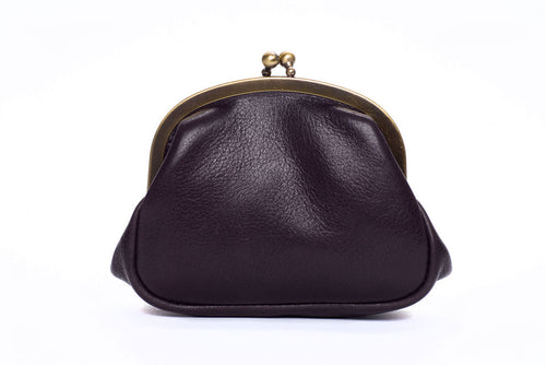 Clip Top Coin Purse - Black Leather