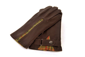 Torridon Gloves -  Classic Green Islay Tweed and Brown Leather