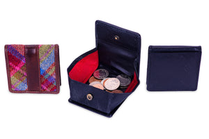 leather and tweed coin purse