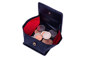 Folding Coin Purse - Black Leather