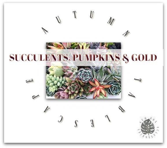 Style Blog: Thanksgiving Fall Autumn Neutral Tablescape - Succulents, Pumpkins, & Gold - Gem Box Accessories
