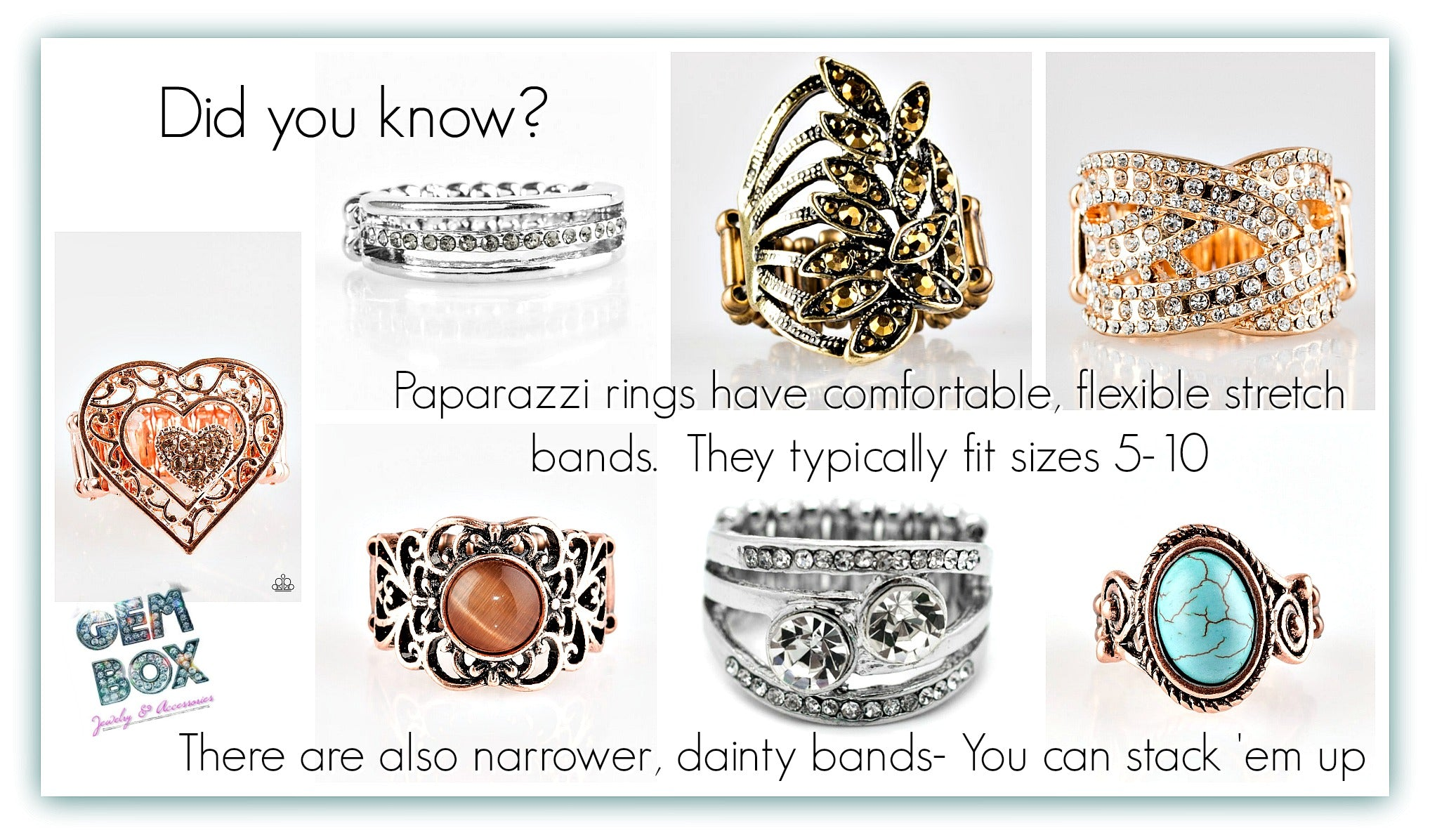 Paparazzi Jewelry | Stretch Band Rings | Gem Box Accessories