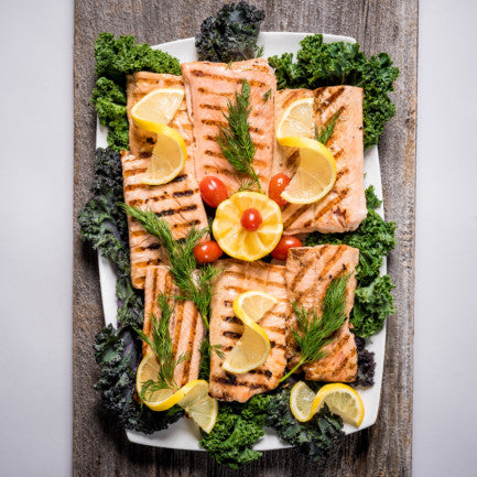 Grilled salmon platter