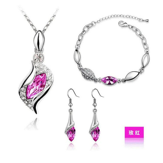 Elegant Luxury Gold Filled Austrian Crystal Drop Jewelry Sets