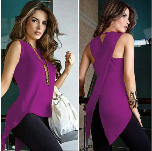 New! Summer Women Blouse Shirt Sexy Sleeveless Tops