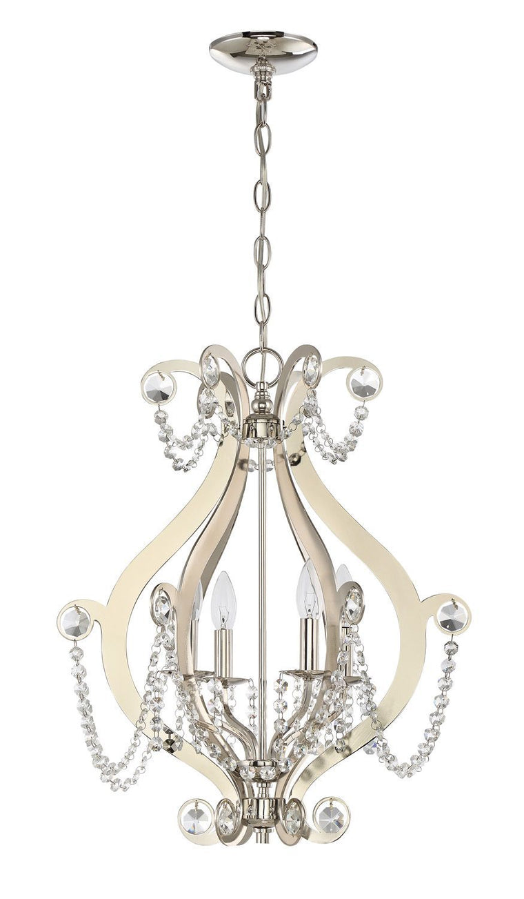 Polished Nickel Mini Chandelier with Clear Crystals by Craftmade 1144C-PLN