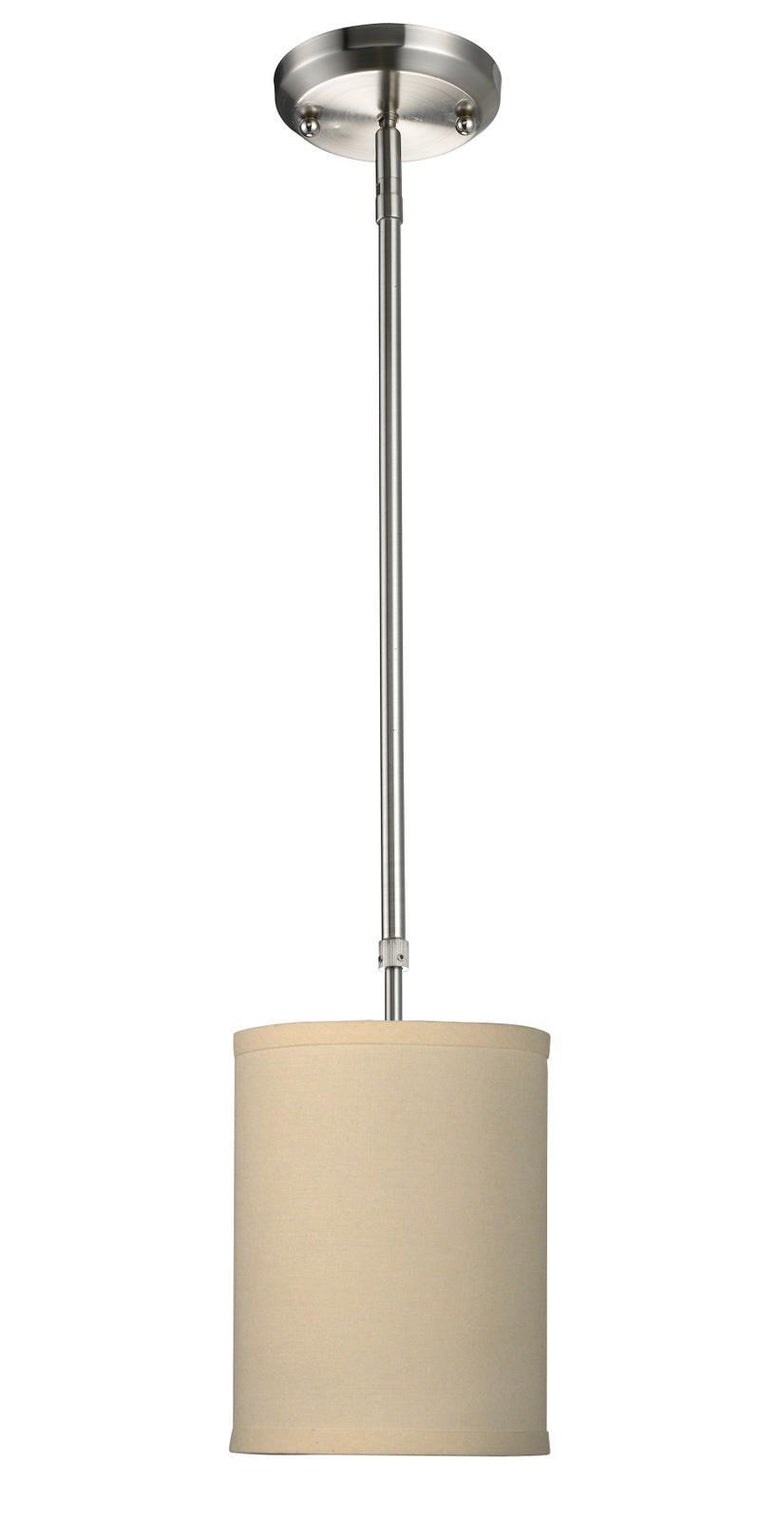 Albion Mini Pendant In Brushed Nickel With Creme Linen Shade By Z-Lite 171-6C
