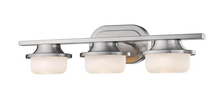 Optum Brushed Nickel With Matte Opal Shade LED 3 Lite Vanity Light by Z-Lite 1917-3V-BN-LED