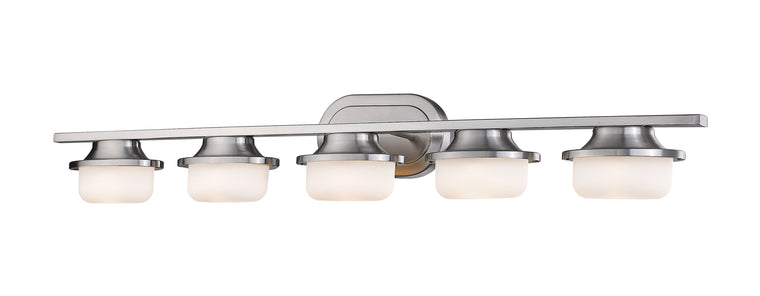 Optum Brushed Nickel With Matte Opal LED 5 Lite Vanity Light by Z-Lite 1917-5V-BN-LED