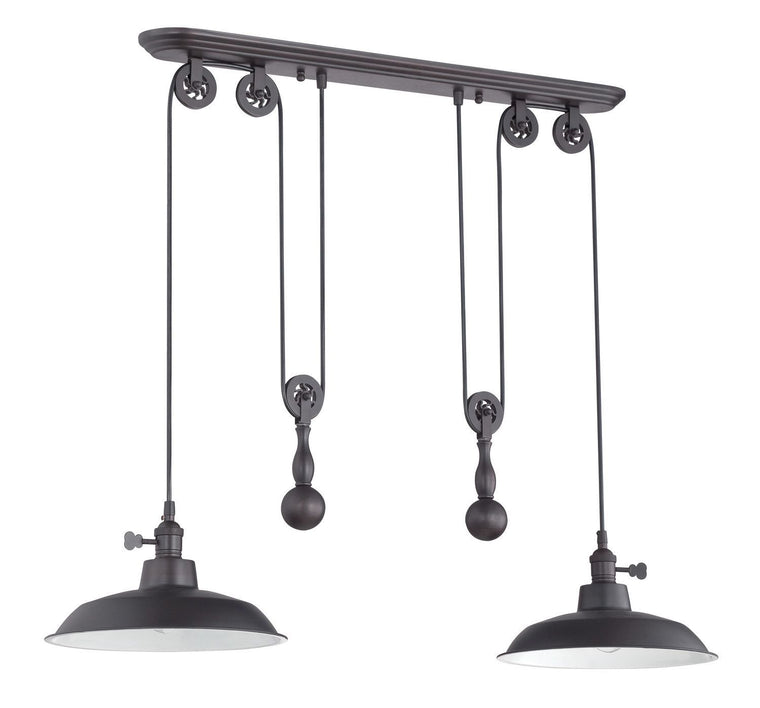 2 Light Pulley Pendant w/Metal Shade
