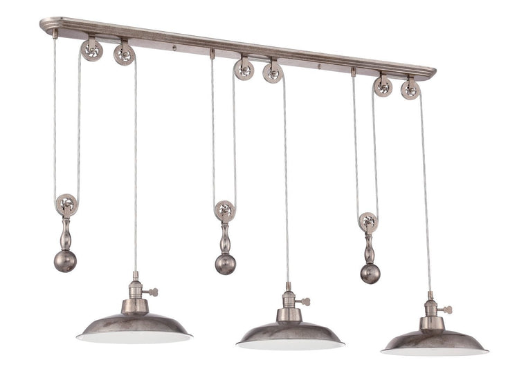 3 Light Pulley Pendant w/Metal Shade