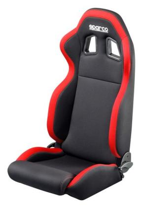 Sparco R100 Reclinable Seat - Tubular - Black,Red - Fabriq-00961NRRS - Rzcrewgarage