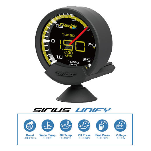 Trust Greddy Sirius Unify Boost Gauge - 74mm - 2.5 Bar - RZCrewEurope