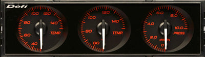 Defi Din Gauge Black Dial - Red Illumination - Water/Oil Temp, Oil Pressure - RZCrewEurope