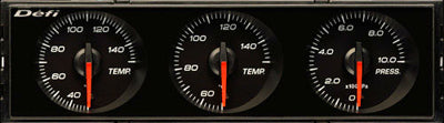 Defi Din Gauge Black Dial - White Illumination - Water/Oil Temp, Oil Pressure - RZCrewEurope