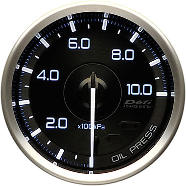 Defi White,Blue Advance A1 Oil Pressure Gauge - 60mm - 10 Bar - RZCrewEurope