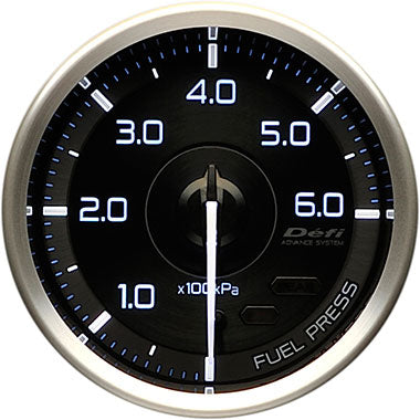 Defi White,Blue Advance A1 Fuel Pressure Gauge - 60mm - 6 Bar - RZCrewEurope