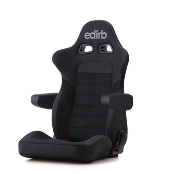 Edirb 054 Ultra Suede Silver Stitching (Seat Heater) Reclinable Seat - Frp - Black-E57PNA - Rzcrewgarage
