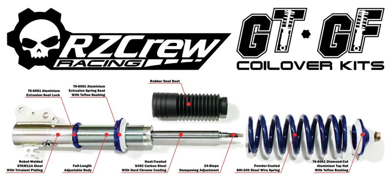 "Rzcrew Racing - GoTrack ""GT"" Monotube Coilover Kit (Front Pillow Ball Camber plate) - Subaru BRZ ZC6 APPLIED A to E"
