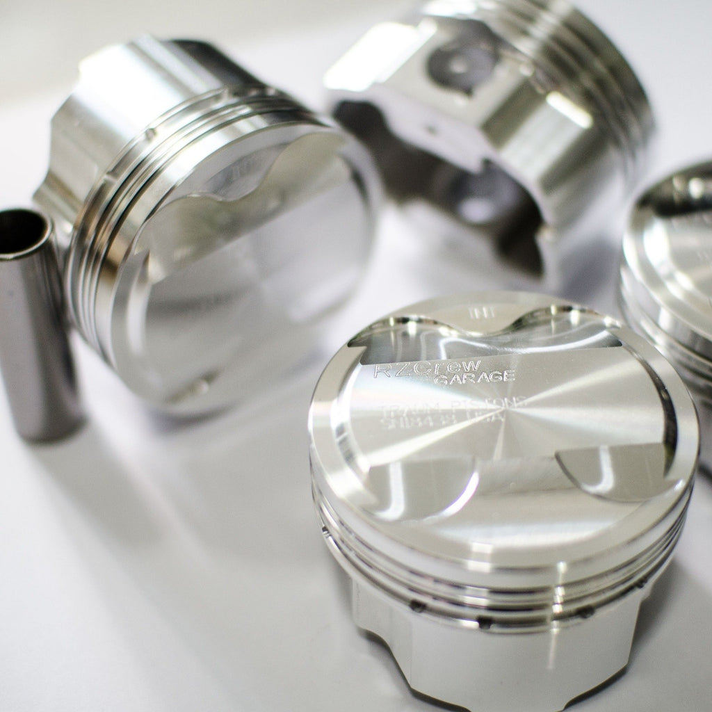 Rzcrew Garage - Forged Pistons 82mm - 8:5 to 15:0 Compression Ratio - Honda - R18 - RZ-FP-1NZ-FE - 8:5.1-75