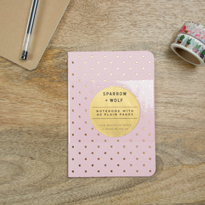 Rose Gold Foiled Pink A6 Notebook