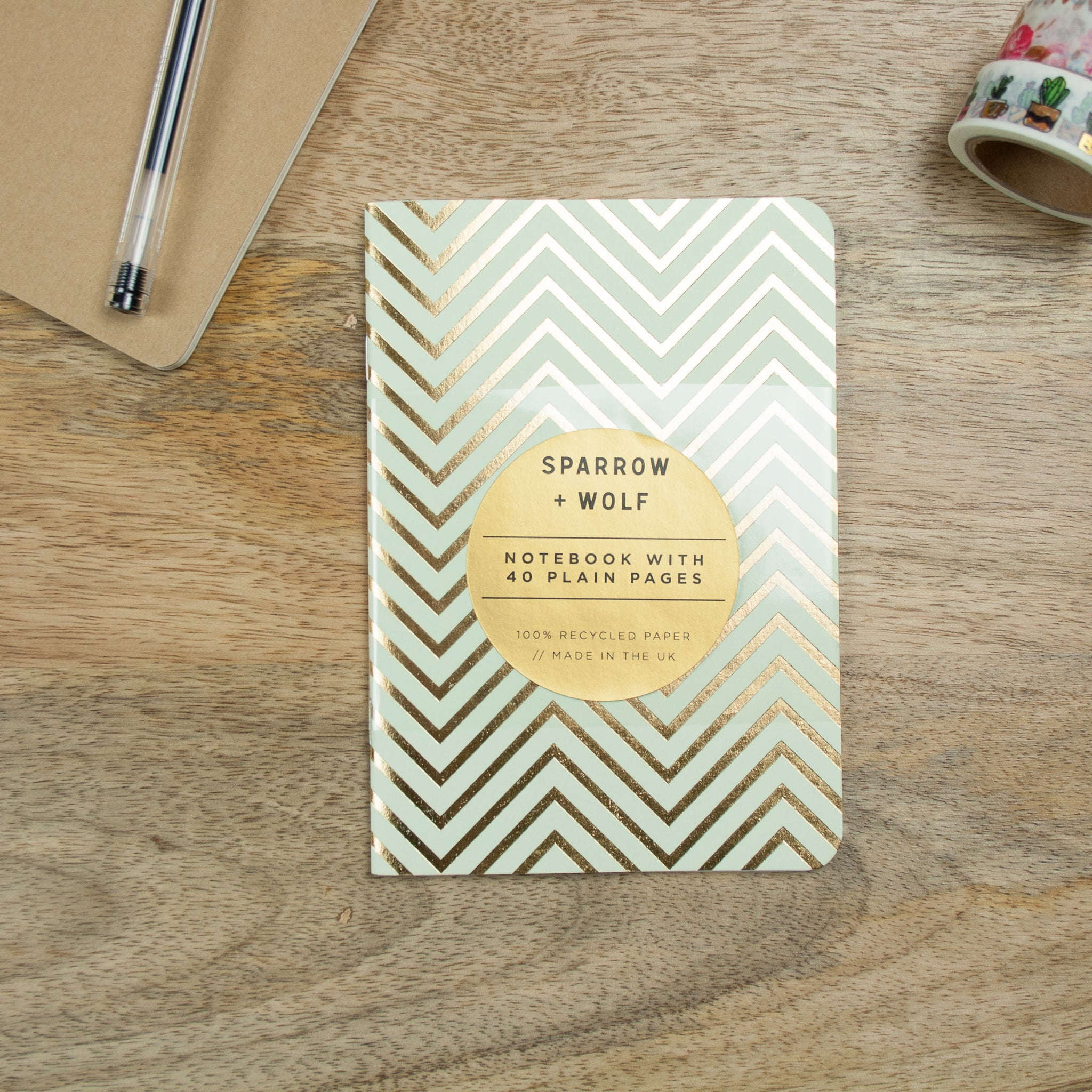 Gold Foiled Mint Green A6 Notebook