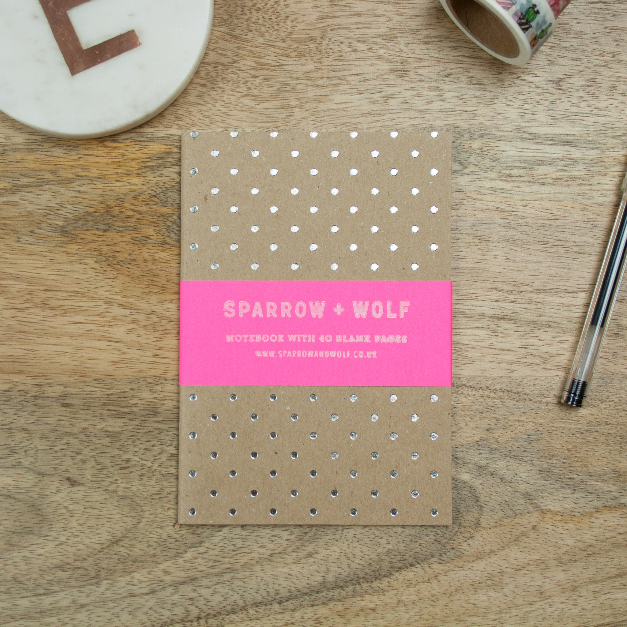 Silver Foiled A6 Polka Dot Notebook