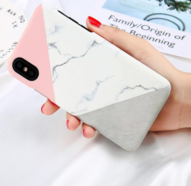 Geometric Stitching Marble Case For iPhone X