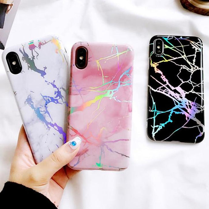 Colorful Laser Marble Case For iphone