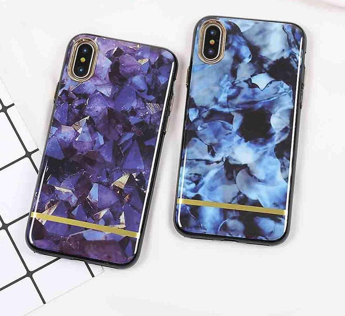 Purple & Blue Crystal Marble Case For iPhone