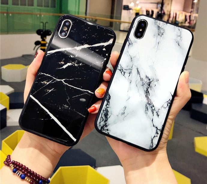 Marble Tempered Glass luxury Case For iPhone